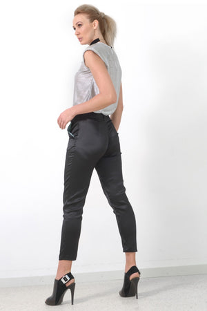 Black Silk Slim Leg Pants