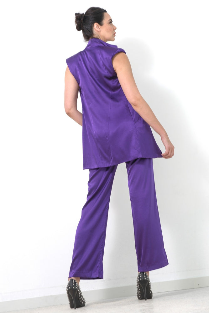 Sleeveless Jacket, Purple Silk