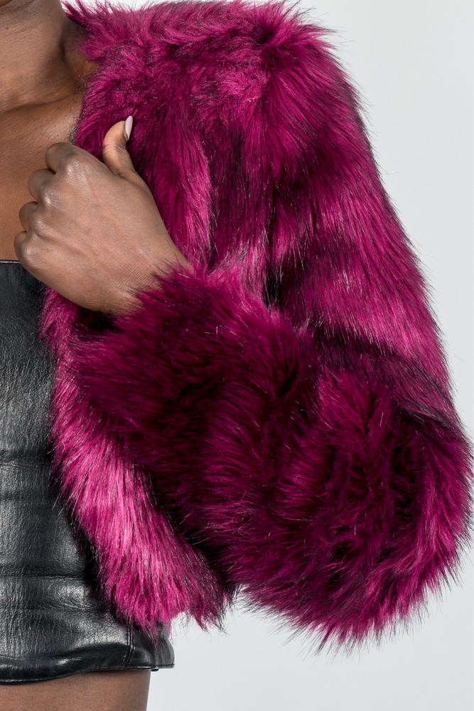 Faux Fur Burgundy