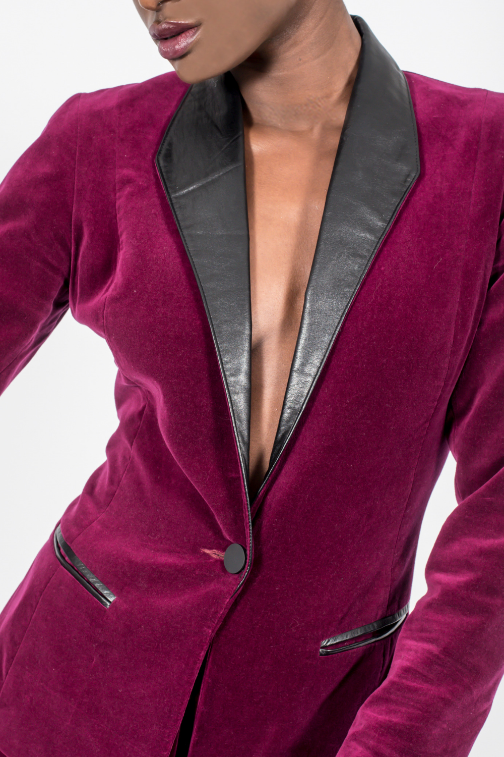 Blazer, Burgundy Cotton Velvet