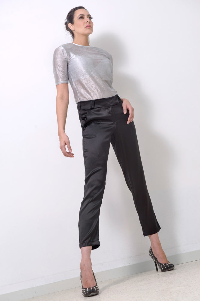 Silver T-shirt + Silver Leather Neckline