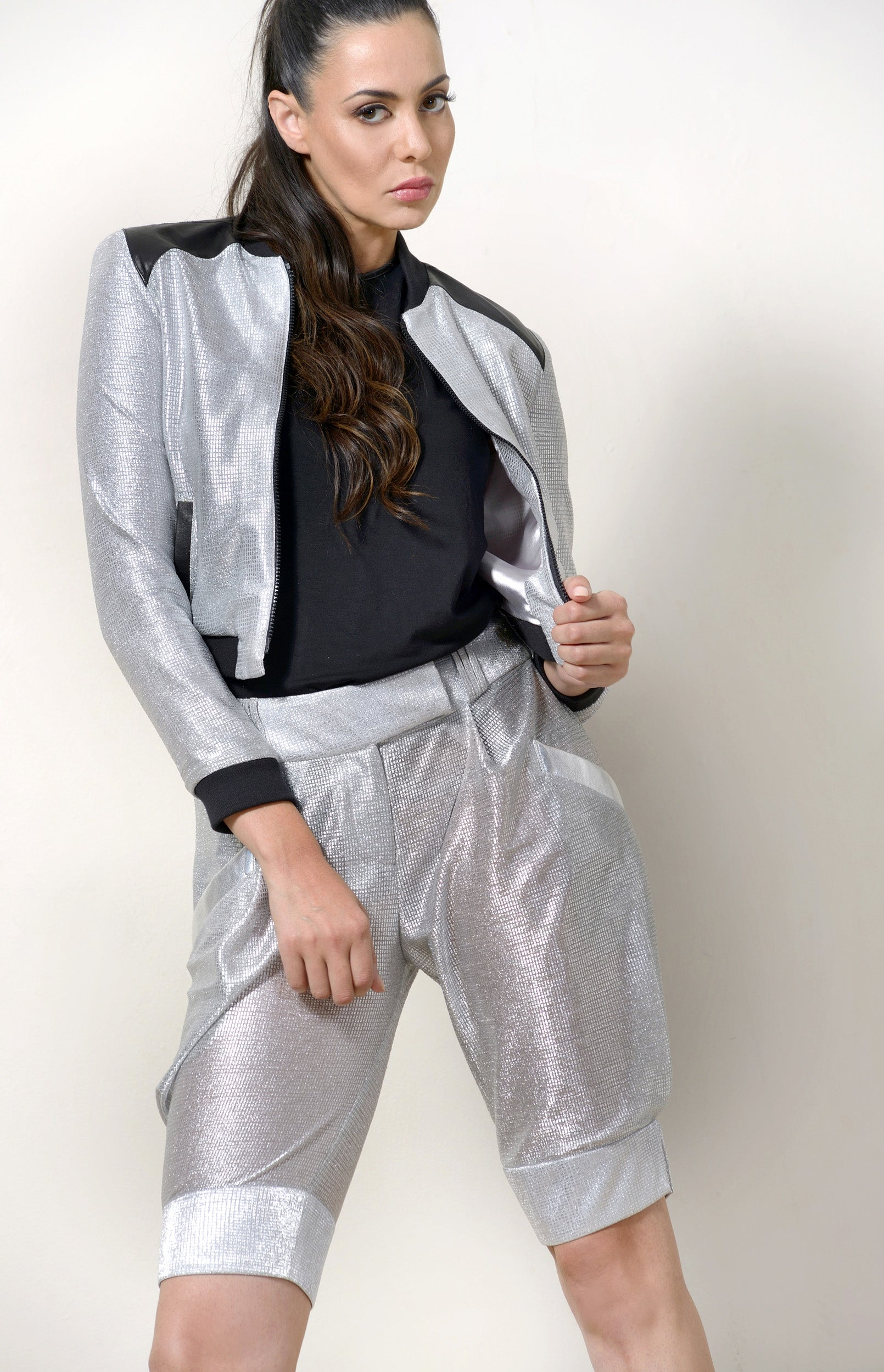 Bomber Jacket, Metallic Silver