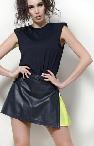 Black Leather A-line Skirt