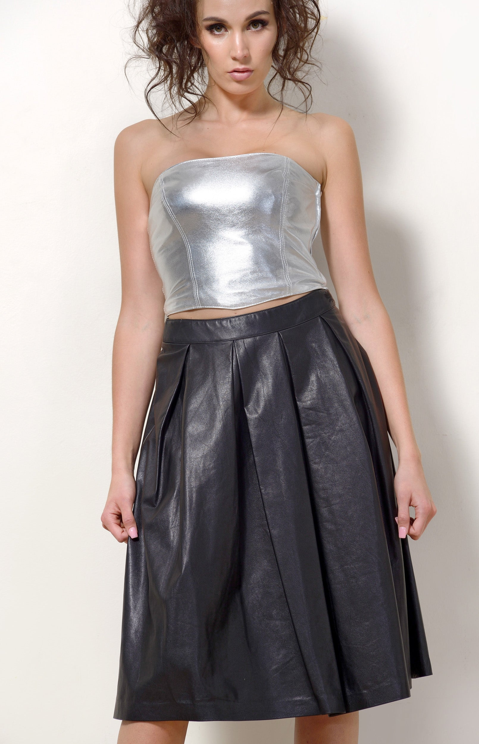 Black Leather Pleated Skirt