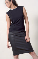 Black T-shirt + Silver Leather Neckline