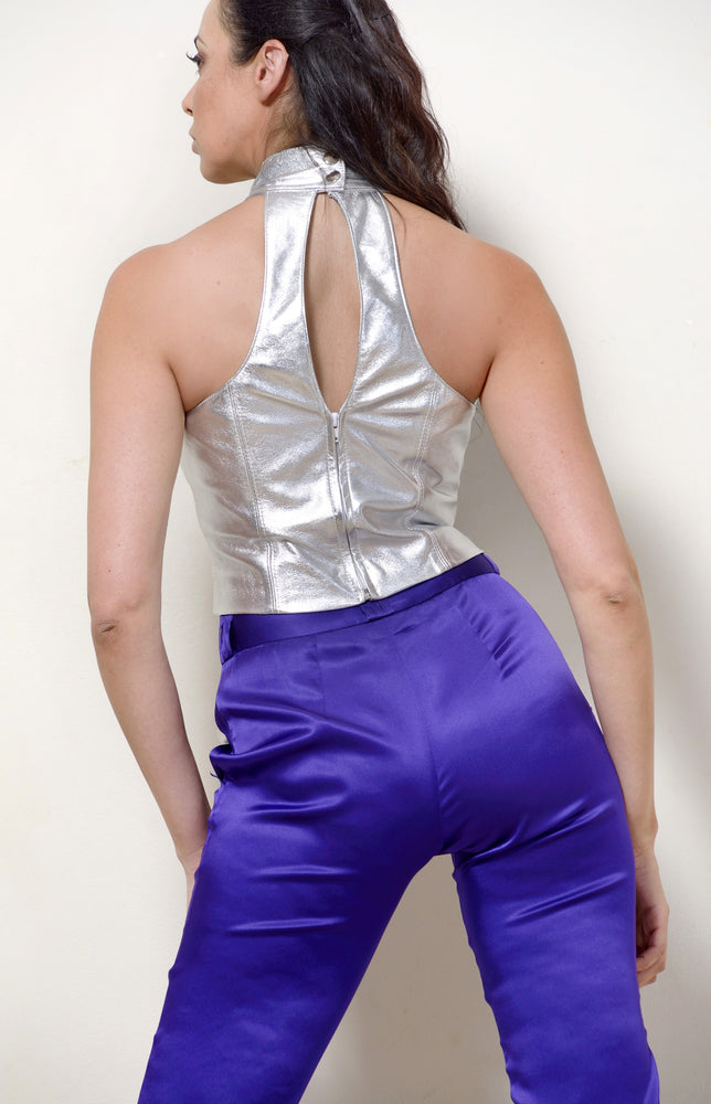 Silver Leather Halter Neck Top