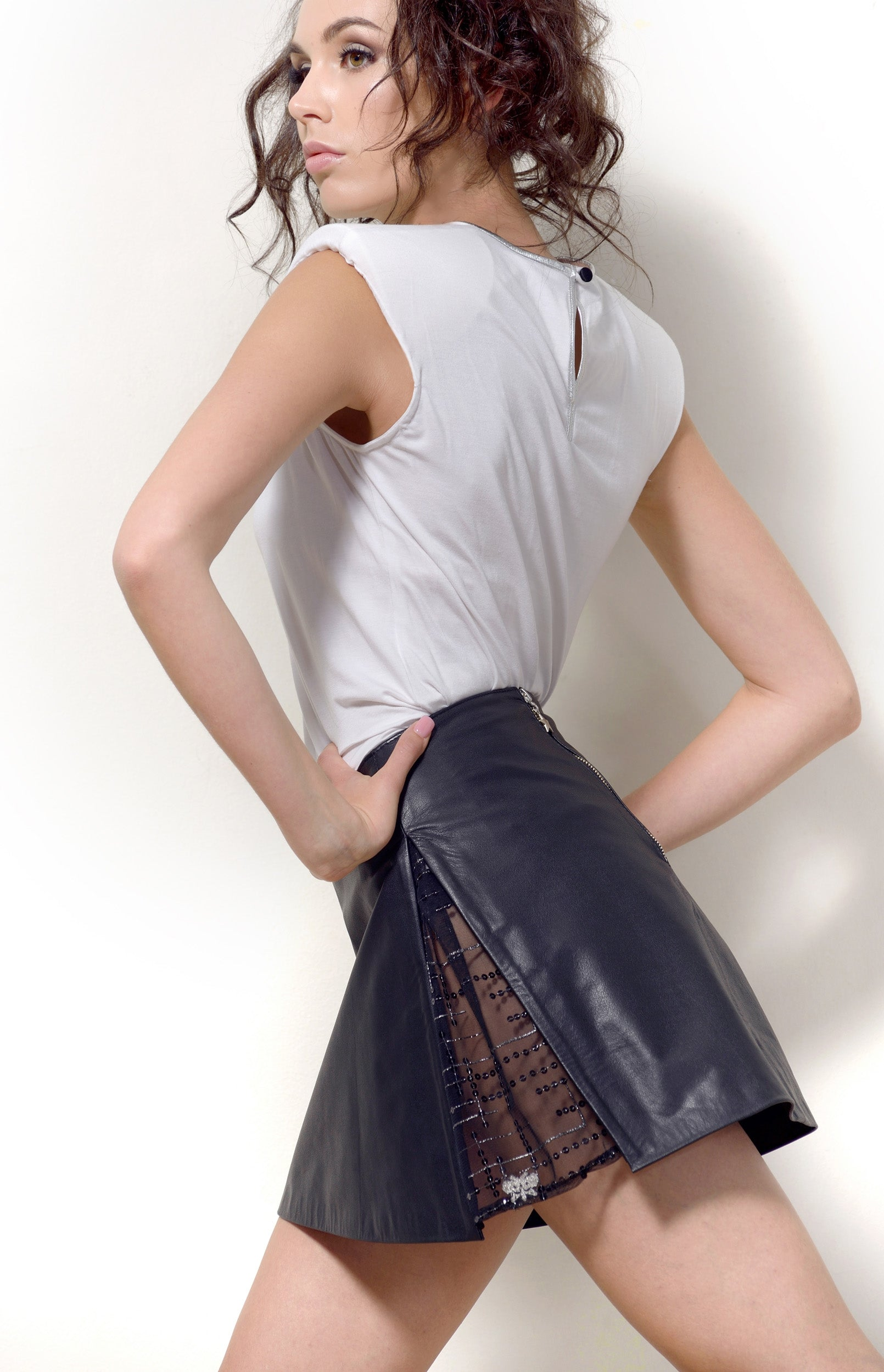 Leather Skirt A-line, Black Leather