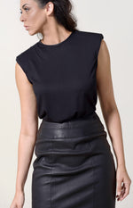 Black T-shirt + Black Leather Neckline
