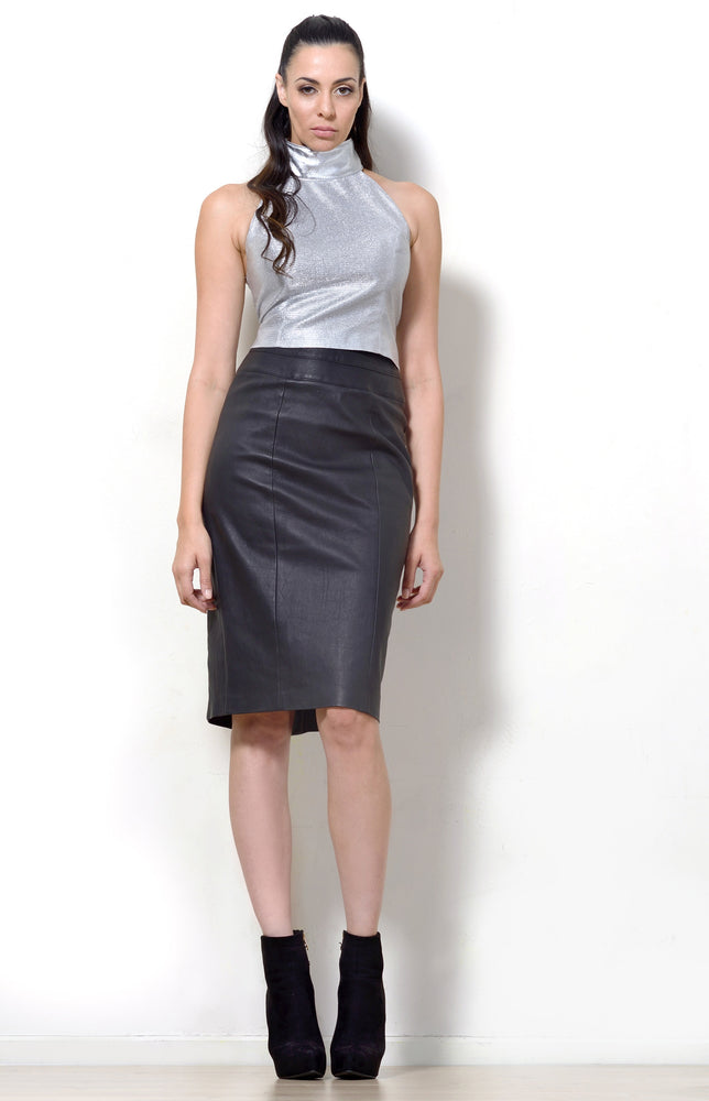 Leather Pencil Skirt, Black Stretch Leather