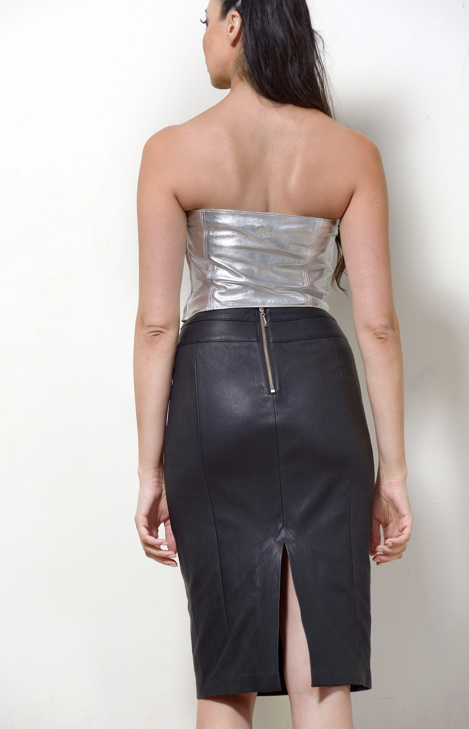 Bustier, Silver Leather