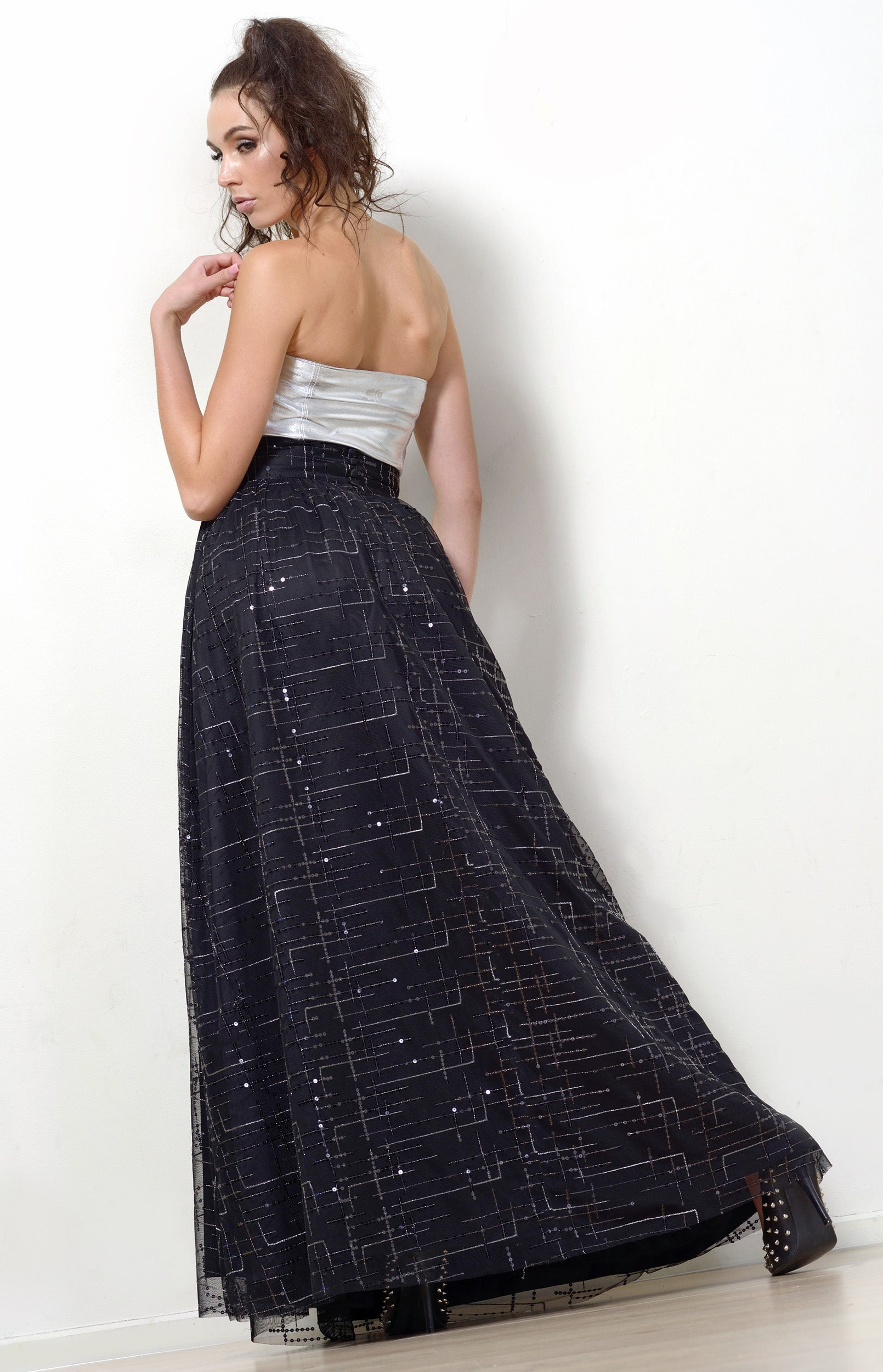 Silk Maxi Skirt, Black + Sequins