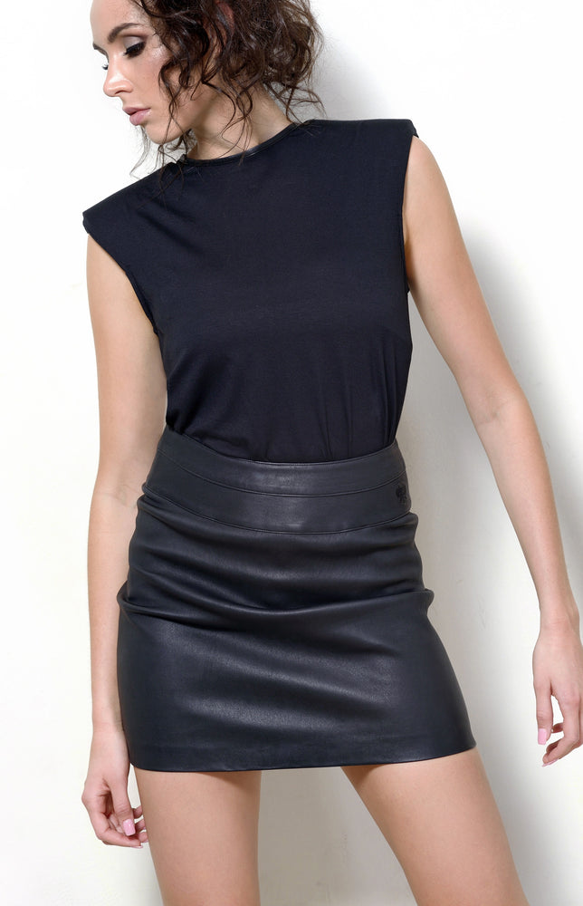 Leather Mini Skirt, Black Stretch Leather
