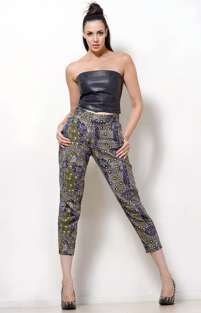 Dancing Spirit Print Slim Leg Pants