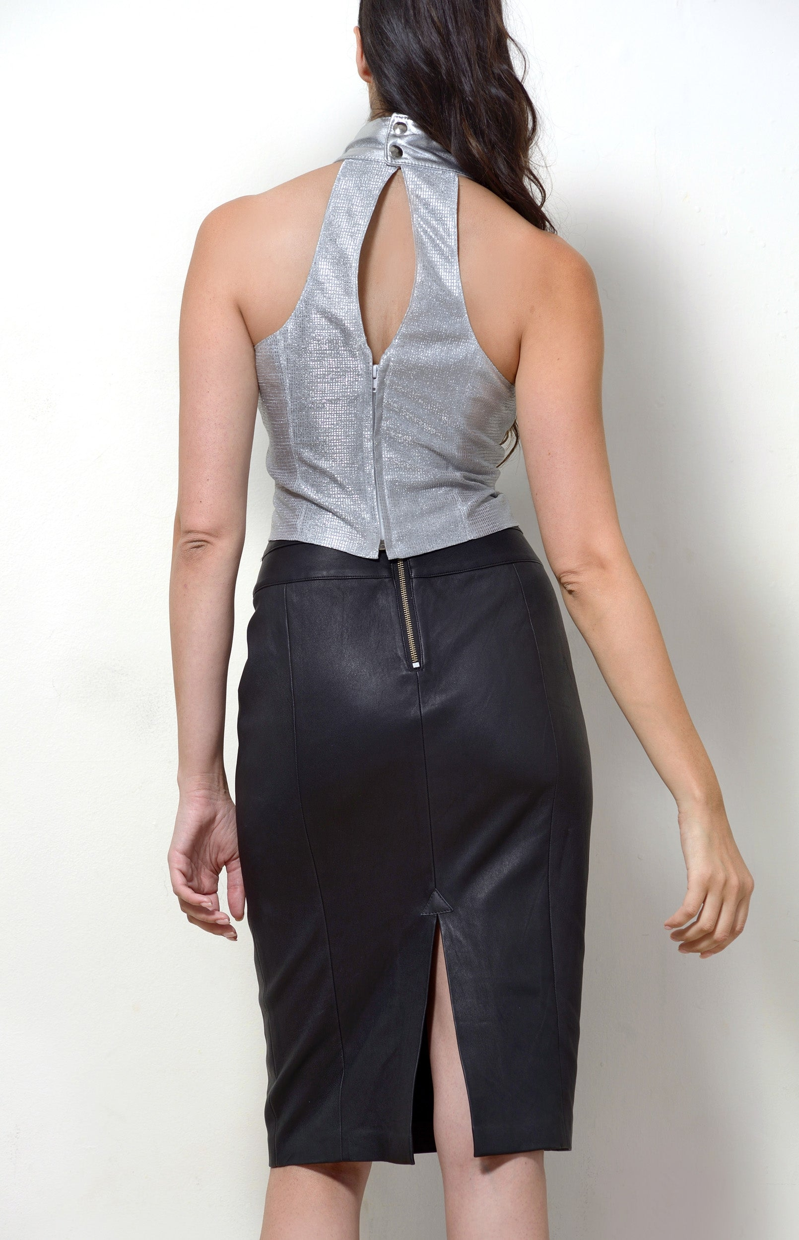 Halter Neck Top, Metallic Silver