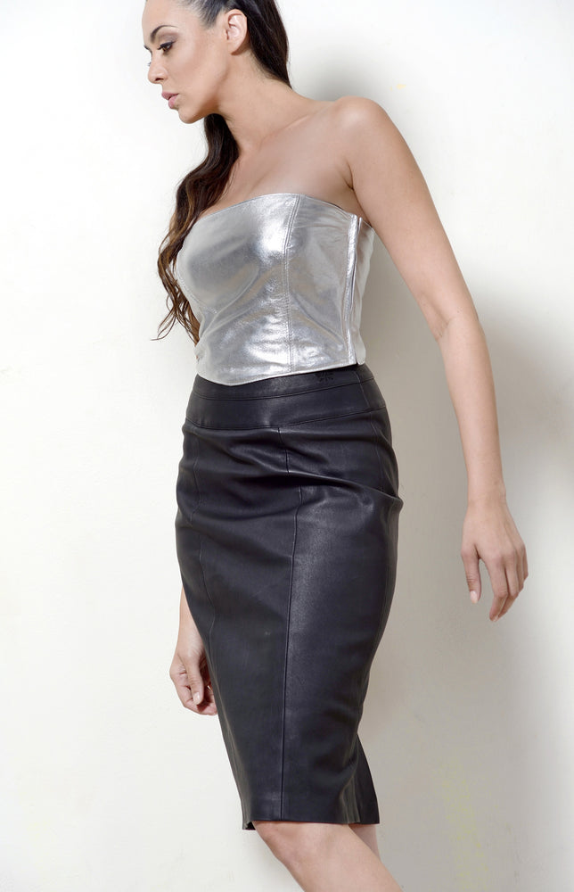 Silver Leather Bustier