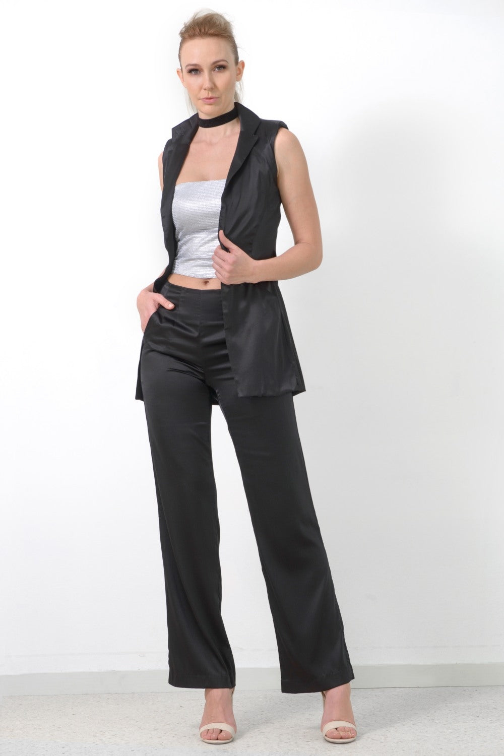 Sleeveless Jacket, Black Silk