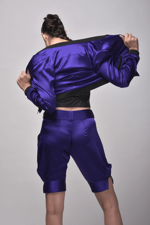 Purple Silk Bomber Jacket