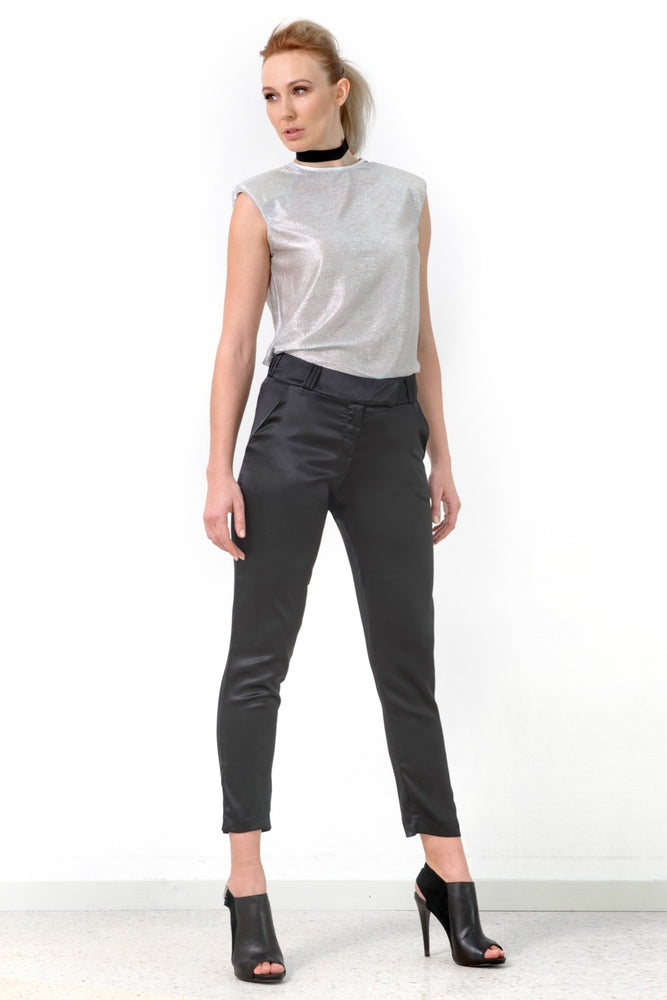 Slim Leg Pants, Black Silk