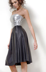 Leather Pleated Skirt, Black Leather