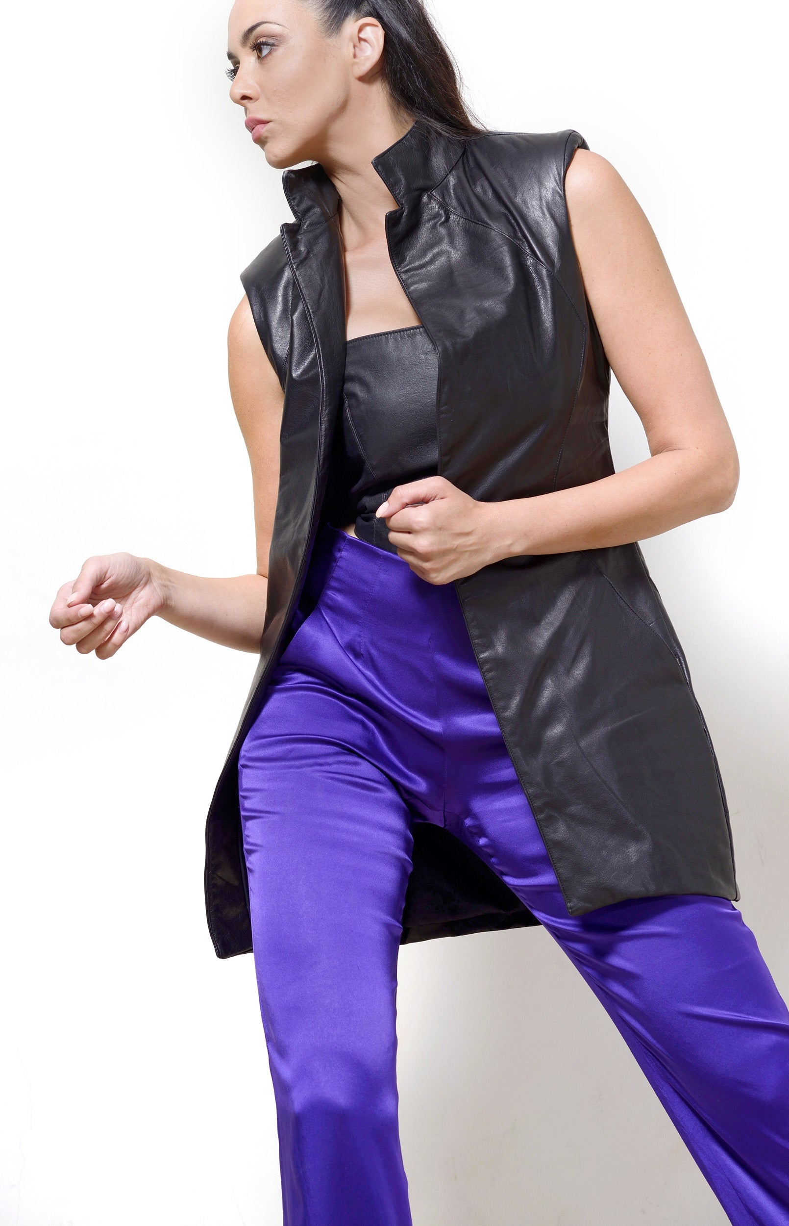 Sleeveless Jacket, Black Leather