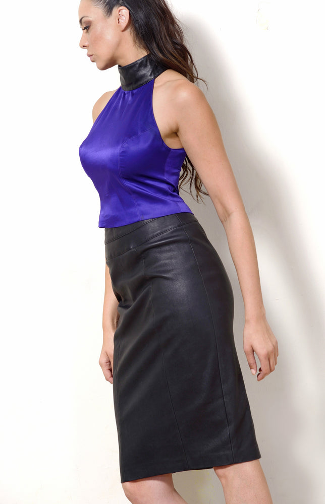 Halter Neck Top, Purple Silk