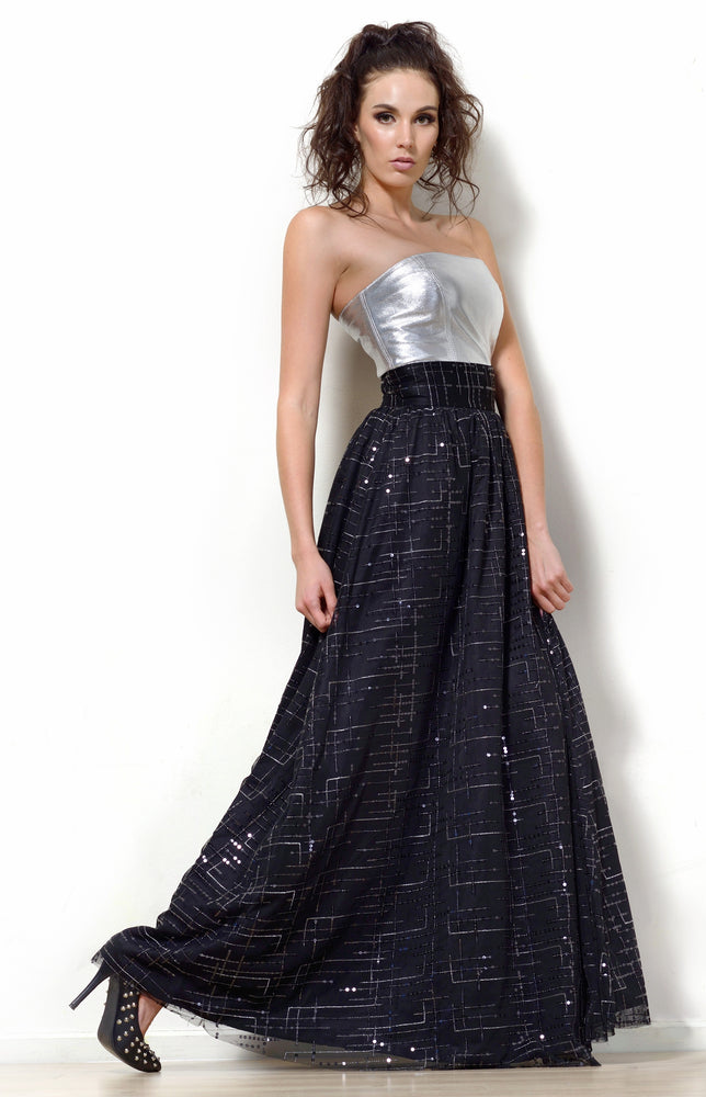 Silk and Sequin Maxi Skirt