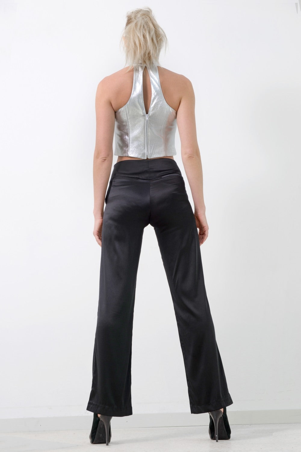 Wide Leg Pants, Black Silk
