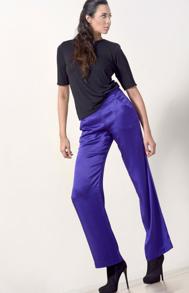 Purple Silk Wide Leg Pants