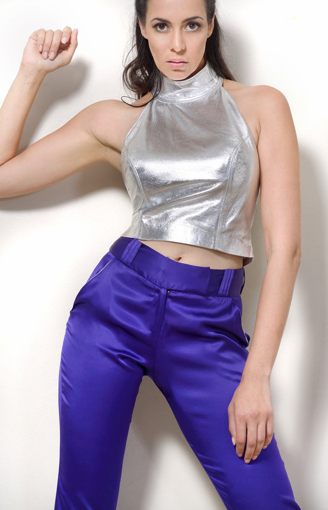 Slim Leg Pants, Purple Silk