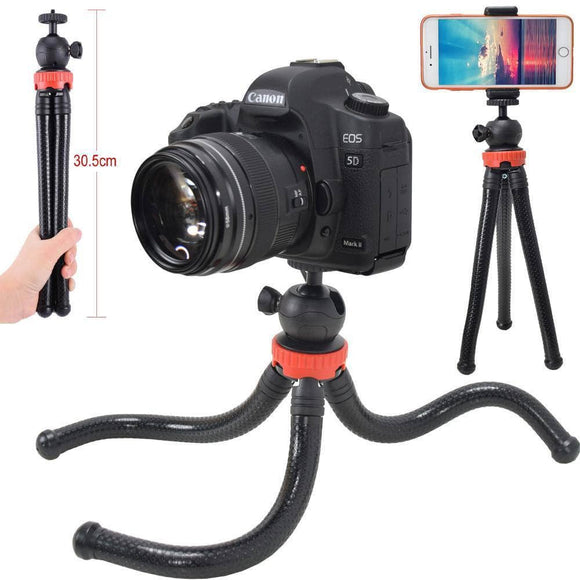 ightpro Flexible Photo Camera Tripod Stand with Ballhead Bundle for DSLR, Holder Clip for iPhone Smartphone Phonegraphy, Go Camera Geek