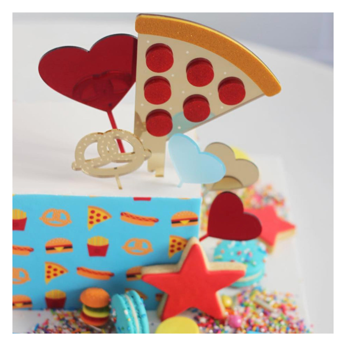 Large Pizza Slice Acrylic Cake Topper