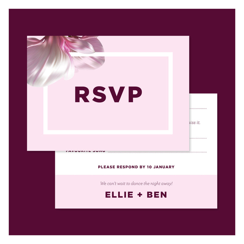Blushing Magnolias • RSVP with Envelope