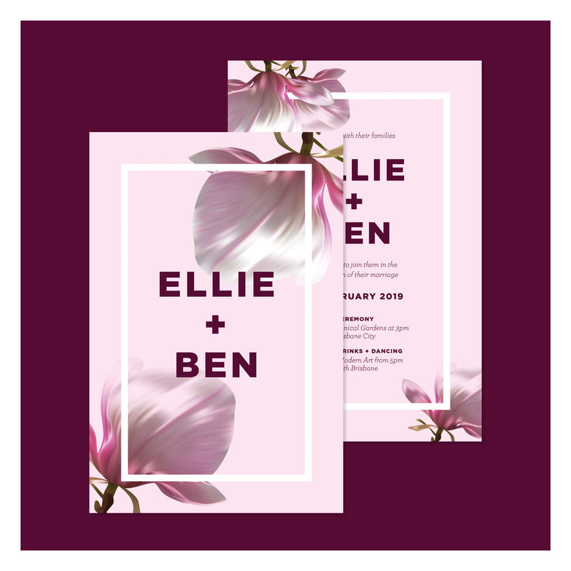 Blushing Magnolias • Wedding Invitation