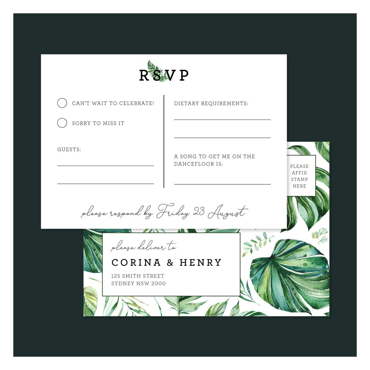 Emerald Jungle • RSVP Postcard