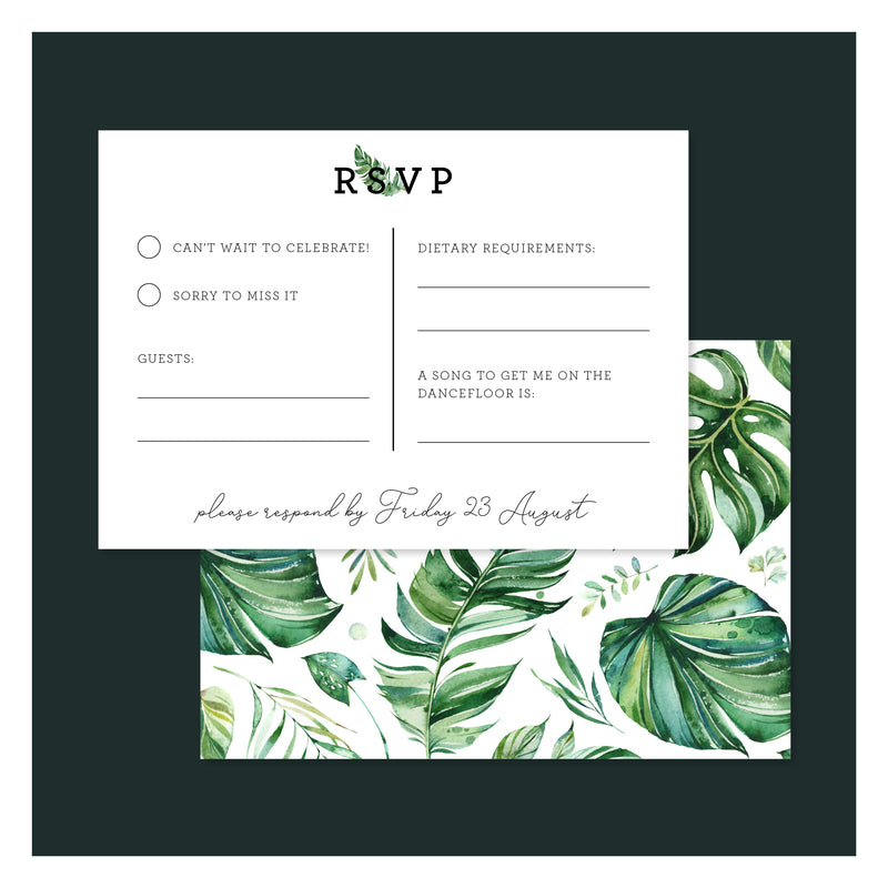 Emerald Jungle • RSVP with Envelope