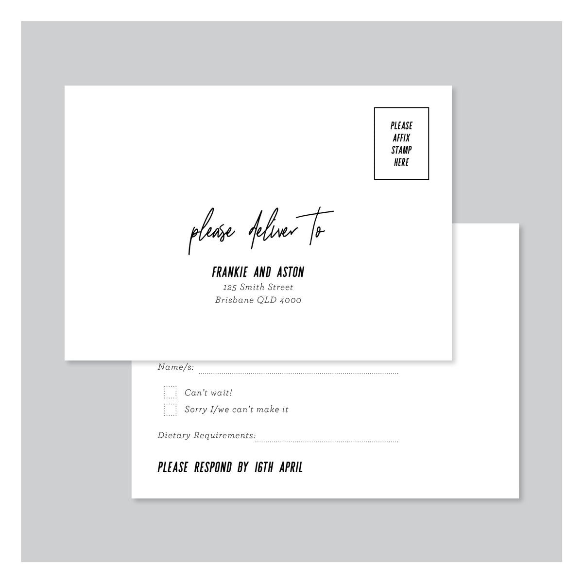 Frankly My Dear • RSVP Postcard