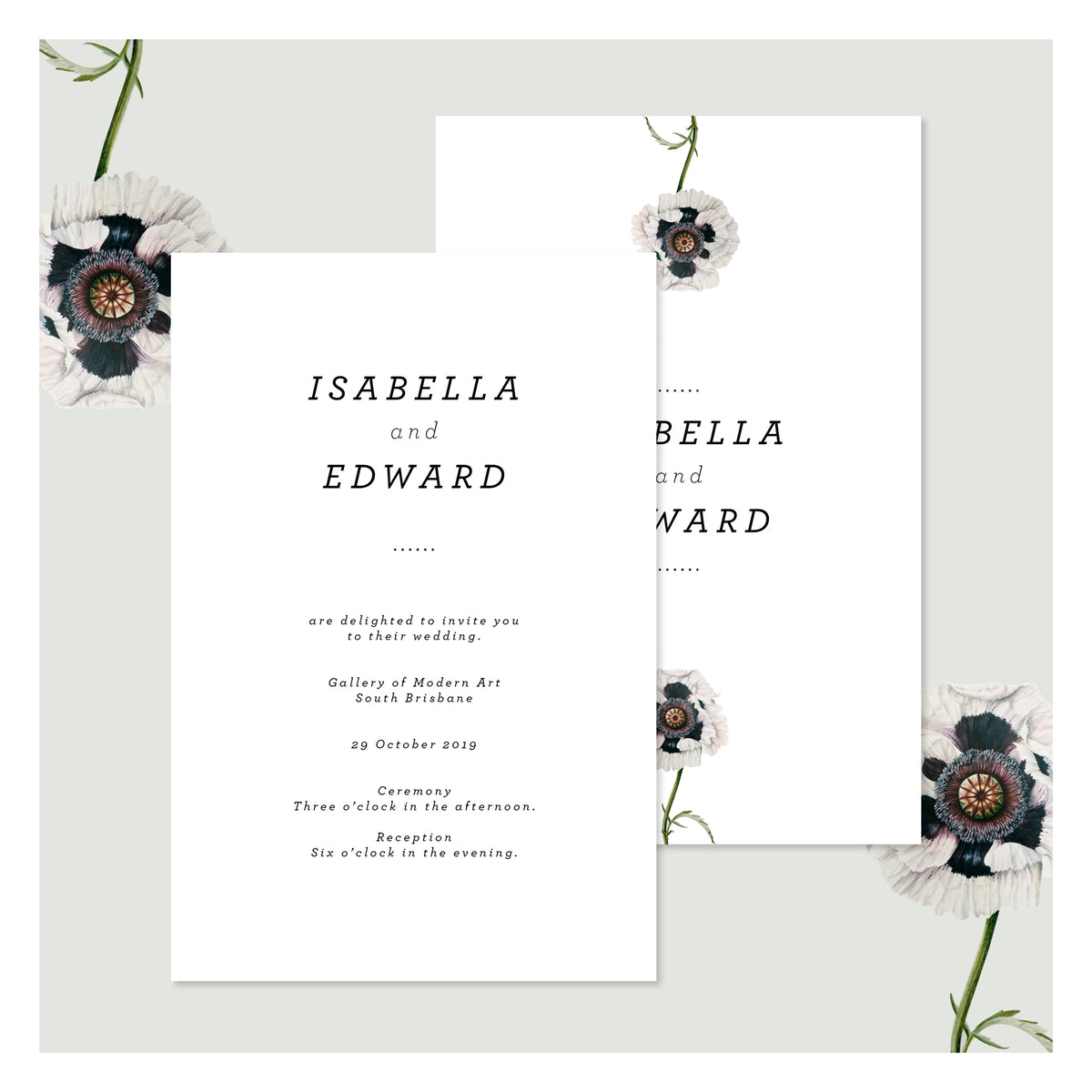 Modern Venus in Arctic White • Wedding Invitation