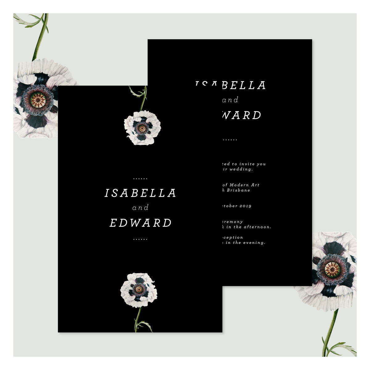 Modern Venus in Pitch Black • Wedding Invitation