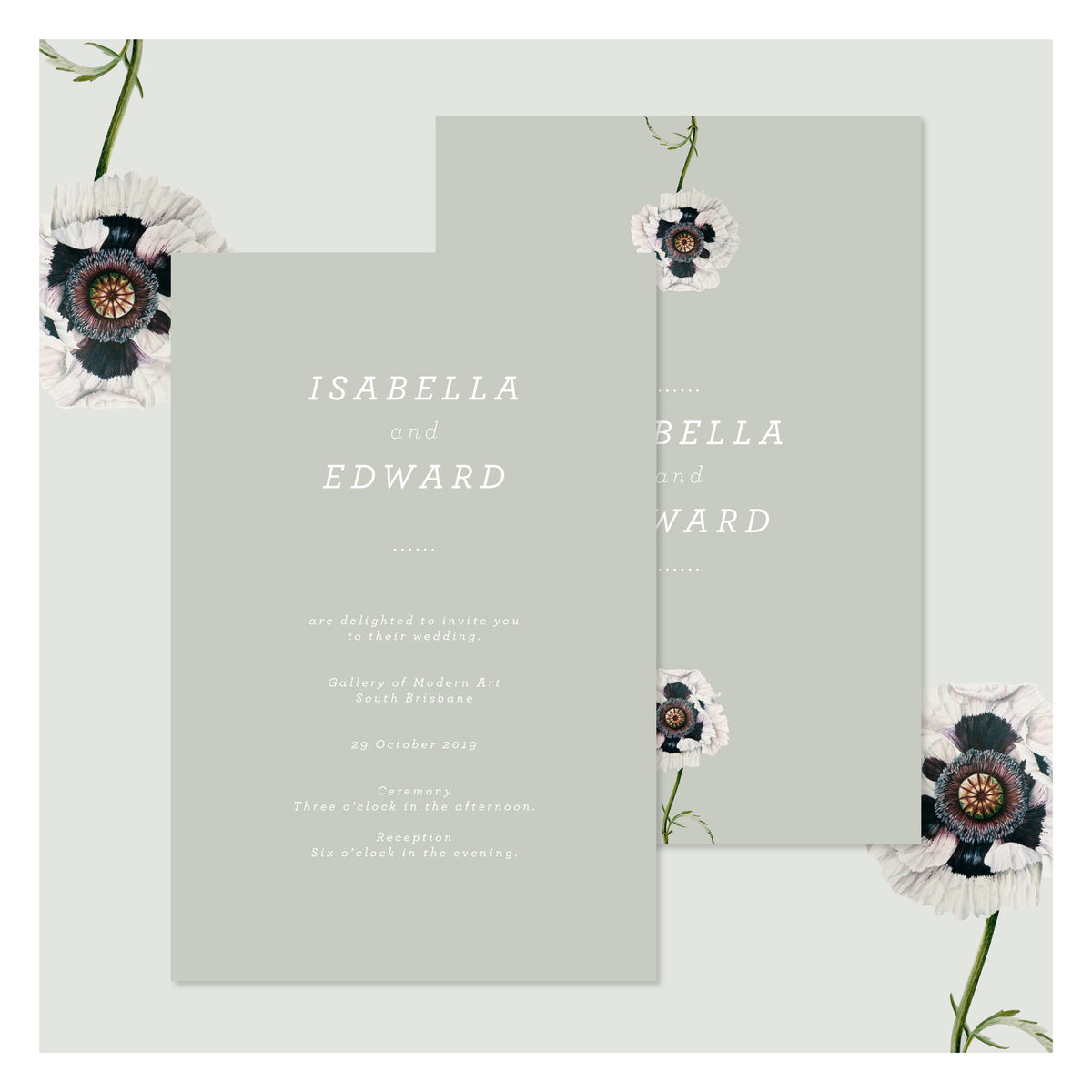 Modern Venus in Sage Green • Wedding Invitation
