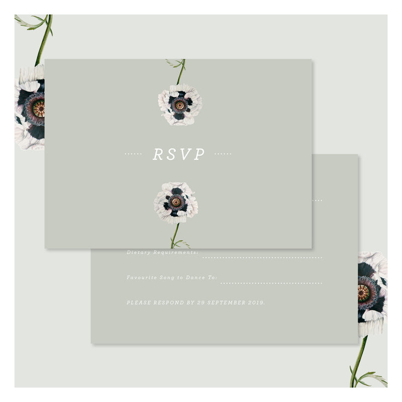 Modern Venus in Sage Green • RSVP with Envelope