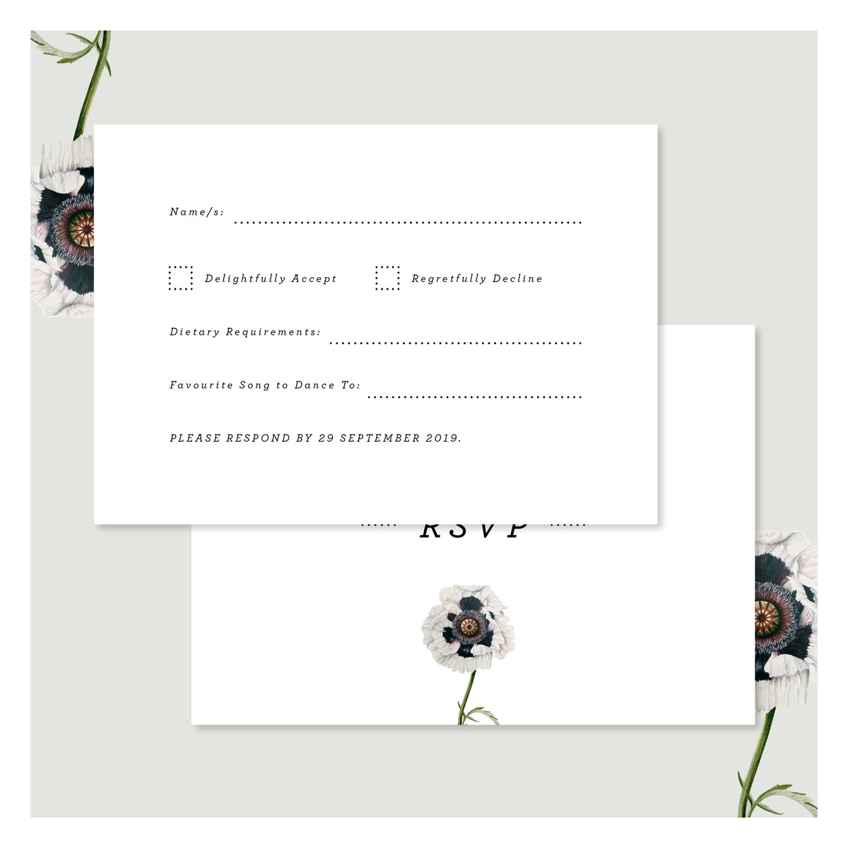 Modern Venus in Arctic White • RSVP with Envelope