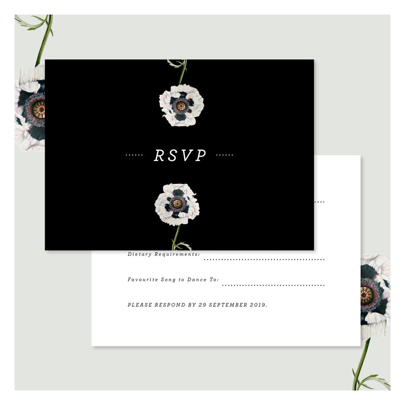 Modern Venus in Pitch Black • RSVP with Envelope