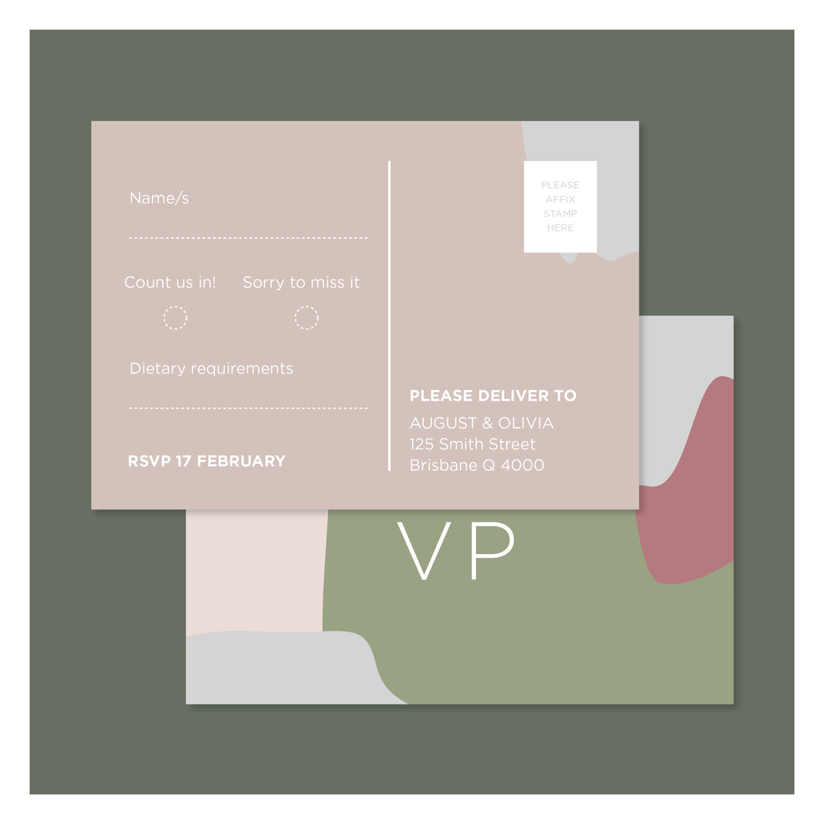 Pretty in Paint • RSVP Postcard