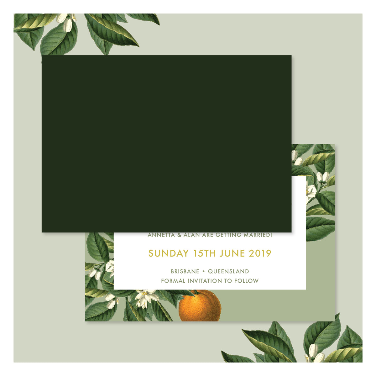 Sweet Citrus in Olive Green • Save the Date