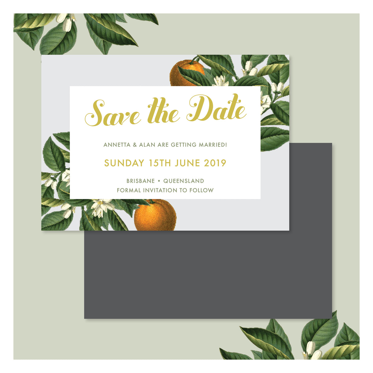 Sweet Citrus in Misty Grey • Save the Date