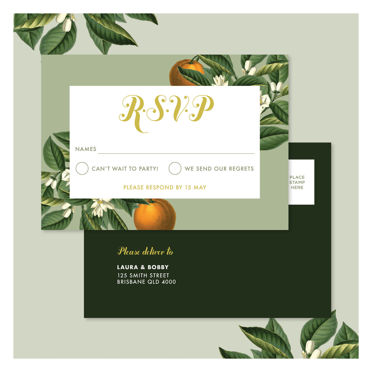 Sweet Citrus in Olive Green • RSVP Postcard