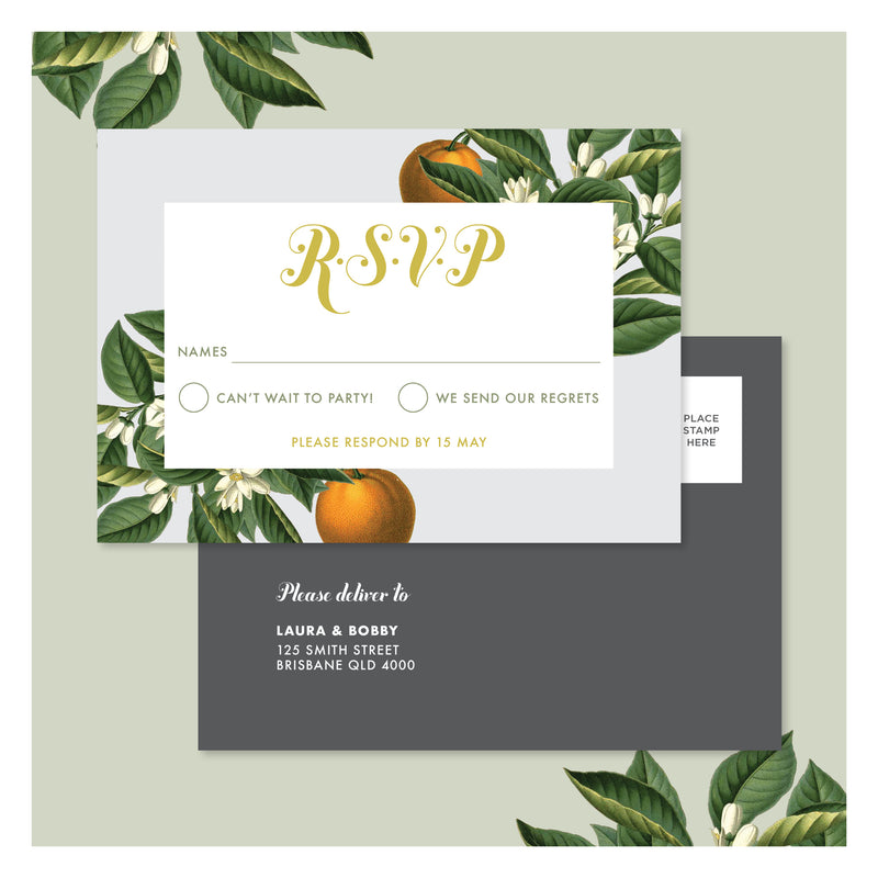 Sweet Citrus in Misty Grey • RSVP Postcard