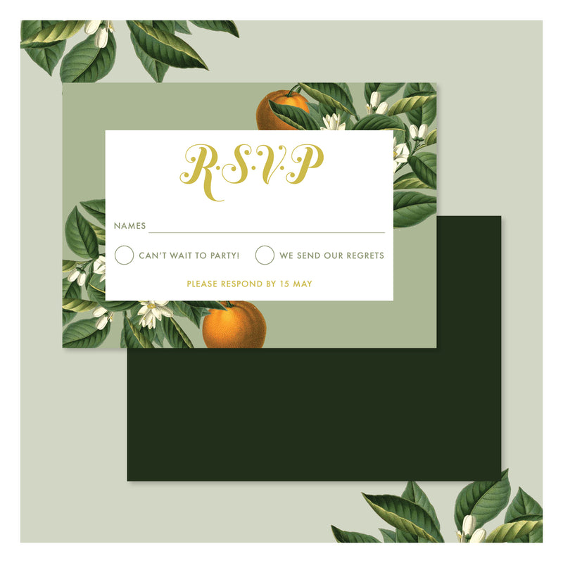 Sweet Citrus in Olive Green • RSVP with Envelope