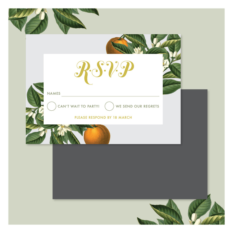 Sweet Citrus in Misty Grey • RSVP with Envelope
