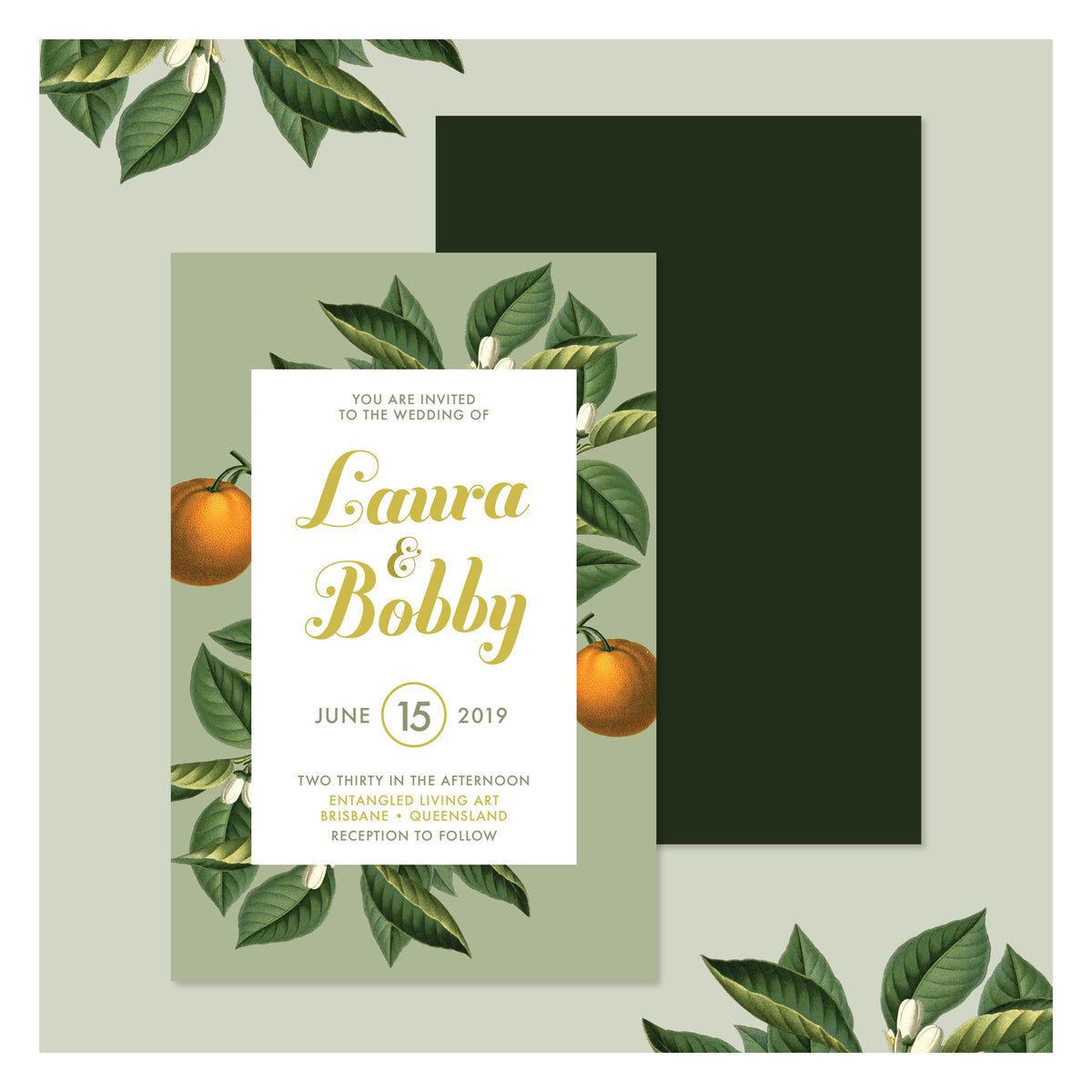Sweet Citrus in Olive Green • Wedding Invitation